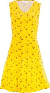9e07163505c2b0 Żółta sukienka bonprix bpc bonprix collection w stylu casual rozkloszowana  z dekoltem w kształcie litery v