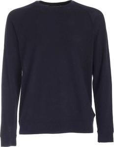Niebieski sweter Zanone z wełny w stylu casual z okrągłym dekoltem