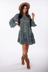 Sukienka Ptakmoda.com z długim rękawem z tkaniny trapezowa