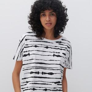 Bluzka Reserved z okrągłym dekoltem z bawełny z krótkim rękawem