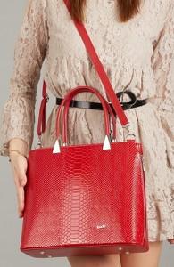 Czerwona torebka Rovicky ze skóry ekologicznej w stylu glamour średnia
