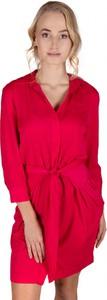 Czerwona sukienka Guess koszulowa z długim rękawem