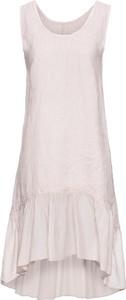 Różowa sukienka bonprix BODYFLIRT z lnu w stylu casual na randkę