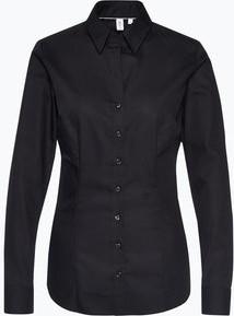 Czarna koszula Seidensticker z tkaniny z kołnierzykiem
