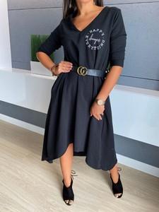 Czarna sukienka ModnaKiecka.pl asymetryczna z długim rękawem w stylu casual