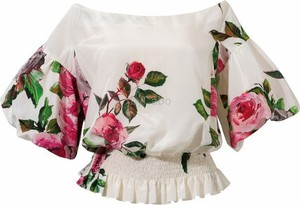 Bluzka byCabo z jedwabiu w stylu boho z krótkim rękawem