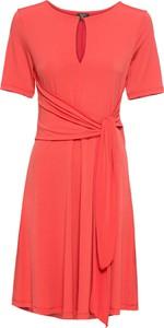 Czerwona sukienka bonprix BODYFLIRT z dżerseju rozkloszowana midi