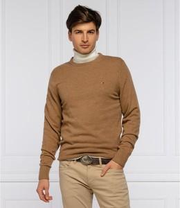 Brązowy sweter Tommy Hilfiger z okrągłym dekoltem w stylu casual