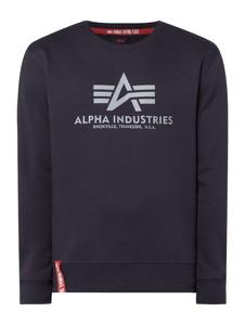 Granatowa bluza Alpha Industries z nadrukiem z bawełny