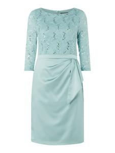 Miętowa sukienka Marie Noir mini z długim rękawem
