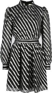 Czarna sukienka Michael Kors z jedwabiu z długim rękawem z kołnierzykiem