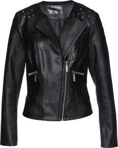 Czarna kurtka bonprix bpc selection premium w rockowym stylu ze skóry ekologicznej