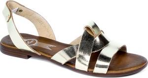 Srebrne sandały Lemar w stylu casual z klamrami ze skóry