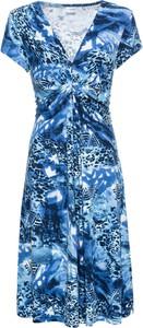 Niebieska sukienka bonprix BODYFLIRT z krótkim rękawem midi w stylu casual