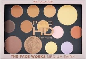 Makeup Revolution, Pro HD Palette The Works, paleta cieni do powiek, Medium/Dark, 27g