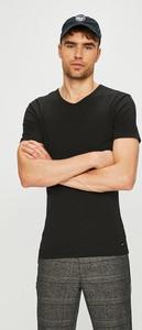 Czarny t-shirt Tommy Hilfiger z dzianiny z krótkim rękawem