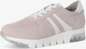 Różowe buty sportowe Tamaris sznurowane z zamszu