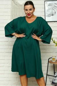 Zielona sukienka KARKO z dekoltem w kształcie litery v mini dla puszystych