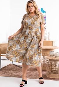 Sukienka KARKO z krótkim rękawem maxi hiszpanka
