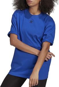 Niebieski t-shirt Adidas z dzianiny w sportowym stylu z krótkim rękawem