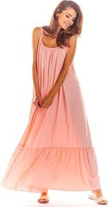 Różowa sukienka Awama z dekoltem w kształcie litery v maxi na ramiączkach