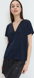 Niebieska bluzka Mohito z dekoltem w kształcie litery v z krótkim rękawem