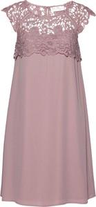 Różowa sukienka bonprix mini bez rękawów z szyfonu