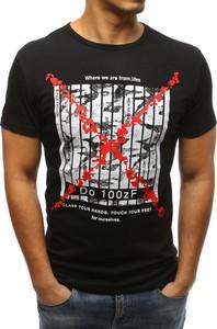Czarny t-shirt Dstreet z krótkim rękawem w młodzieżowym stylu