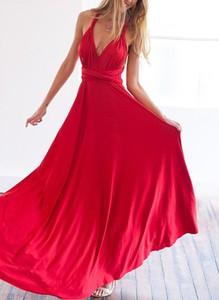 Czerwona sukienka Cikelly z dekoltem w kształcie litery v w stylu boho maxi