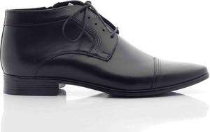 Czarne buty zimowe Tresor ze skóry