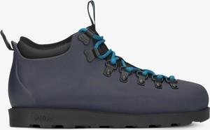 Granatowe buty trekkingowe Native ze skóry sznurowane