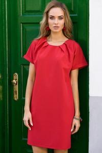 Czerwona sukienka MOE w stylu casual z krótkim rękawem mini
