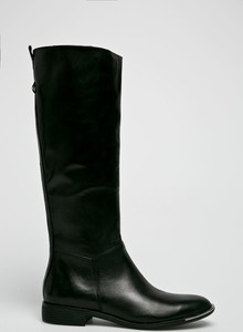 Czarne kozaki CheBello przed kolano w stylu casual na obcasie