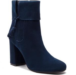 Niebieskie botki Quazi ze skóry na obcasie