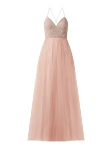Sukienka Luxuar Fashion z szyfonu z dekoltem w kształcie litery v maxi