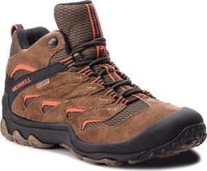 Brązowe buty trekkingowe Merrell w sportowym stylu ze skóry sznurowane