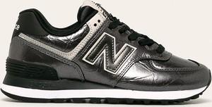 Srebrne buty sportowe New Balance z płaską podeszwą ze skóry sznurowane