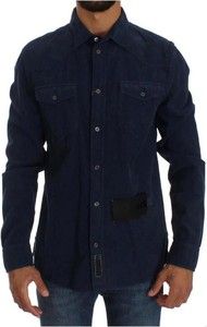 Niebieska koszula Acht w stylu casual z długim rękawem z kołnierzykiem button down