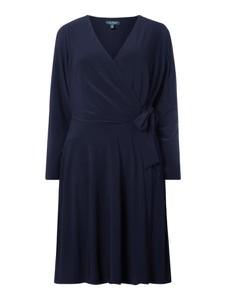 Granatowa sukienka Lauren Curve mini z długim rękawem z dekoltem w kształcie litery v
