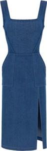 Niebieska sukienka KOSTES gorsetowa na ramiączkach