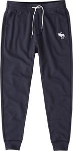 Granatowe spodnie sportowe Abercrombie & Fitch z dresówki
