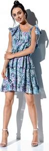 Niebieska sukienka Lemoniade w stylu casual mini z okrągłym dekoltem