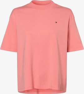 Różowy t-shirt Tommy Hilfiger z krótkim rękawem