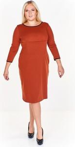 Pomarańczowa sukienka Fokus z długim rękawem midi z okrągłym dekoltem