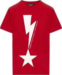 Czerwony t-shirt Neil Barrett z krótkim rękawem z nadrukiem z bawełny