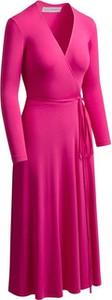 Różowa sukienka RISK made in warsaw z długim rękawem z dekoltem w kształcie litery v maxi