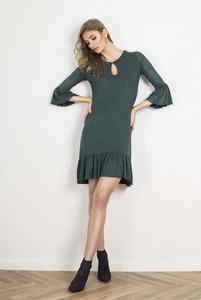 Zielona sukienka Ivon z okrągłym dekoltem mini