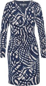 Niebieska sukienka bonprix bpc selection mini w stylu casual z długim rękawem