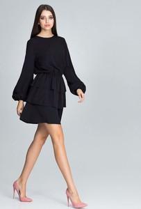 Czarna sukienka Figl z okrągłym dekoltem z długim rękawem