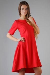 Czerwona sukienka Tessita z okrągłym dekoltem mini